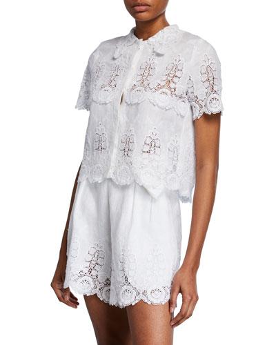 Darlene Linen Button-Front Lace Crop Top