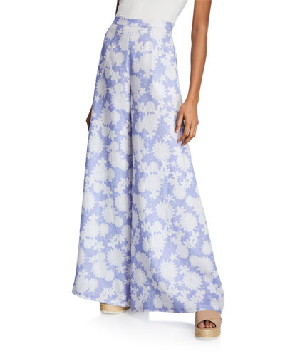 Pamela High-Rise Floral Linen Flare Pants
