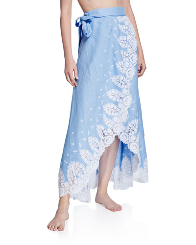 Clarice Linen Coverup Skirt with Lace