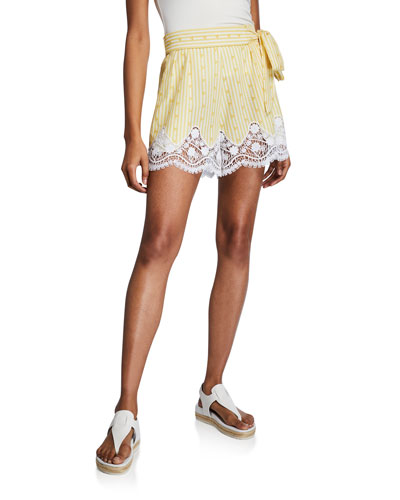 Liana High-Waist Cotton Shorts w/ Lace