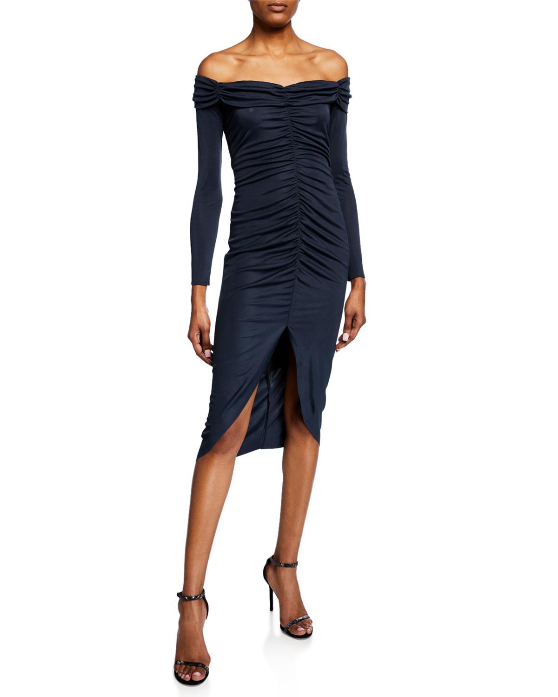 Milly Dresses MEGAN OFF-THE-SHOULDER LONG-SLEEVE SHIRRED HIGH-LOW DRESS