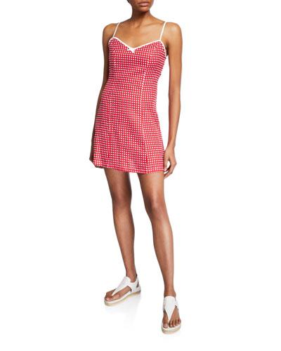 Nadine Check Linen Sleeveless Short Dress