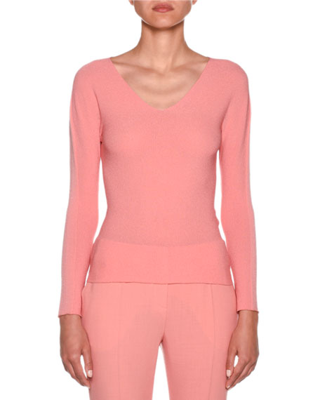 Giorgio Armani Long-Sleeve V-Neck Mesh Top