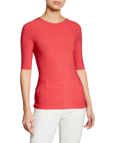 Half-Sleeve Ribbed Top