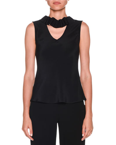 Sleeveless Silk Blouse with Detachable Ribbon Trim