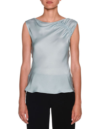 Ruched-Shoulder Sleeveless Silk Blouse, Aquamarine