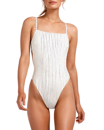 Edie Stripe Adjustable-Strap High-Leg One-Piece Swimsuit