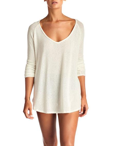 Vitamin A Drifter Beach Sweater Coverup, Cream