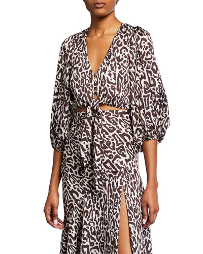 Isabella Leopard-Print Cropped Tie-Front Top