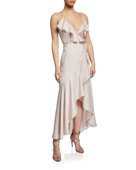 Shona Joy Luxe Wrap Spaghetti-Strap High-Low Frill Dress