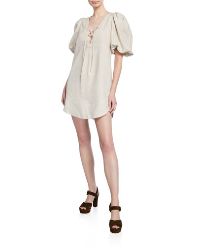 Alauro Lace-Up Puff-Sleeve Mini Linen Dress
