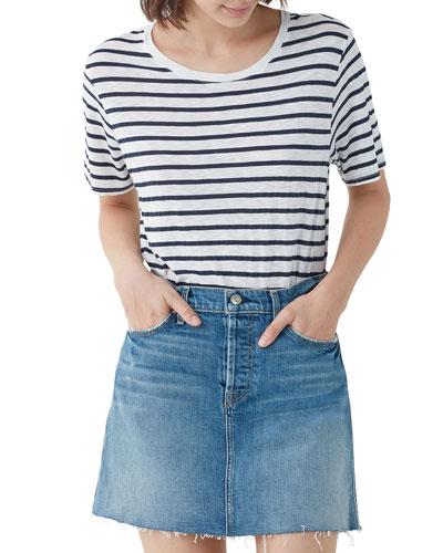Zoe Striped Crewneck Short-Sleeve T-Shirt
