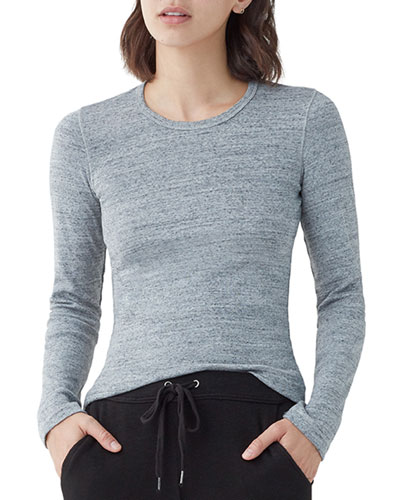 Ribbed Long-Sleeve Crewneck Top