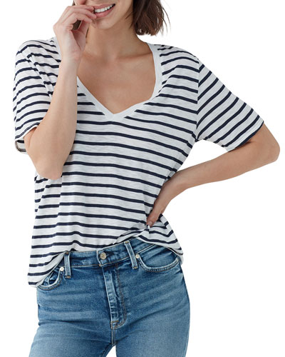 Everly Striped Short-Sleeve V-Neck Tee