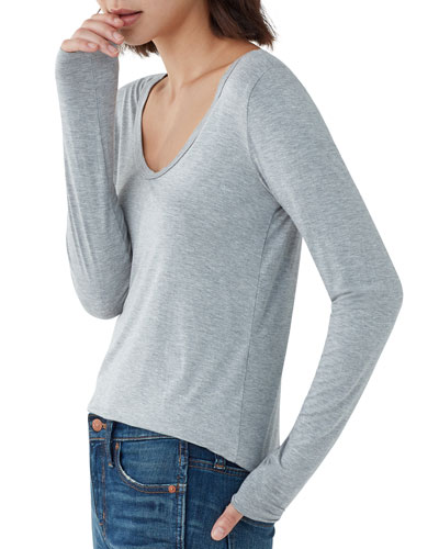 Madison Long-Sleeve Scoop-Neck Tee