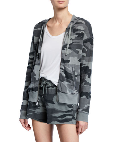 Essential Active Camo Zip-Front Hooded Track Jacket