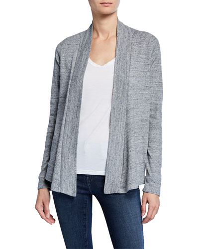 Classic 1x1 Heathered Open-Front Cardigan