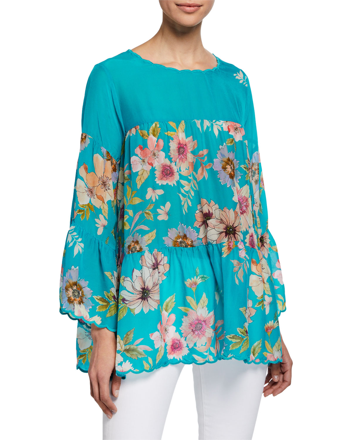 Johnny Was Fyson Floral Print Scoop Neck Flared Sleeve Blouse