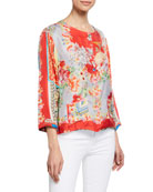 Johnny Was Lyon Mixed-Print Button-Front Silk Twill Jacket