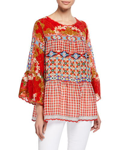 Plus Size Fyson Scoop-Neck Flared-Sleeve Mixed-Print Blouse