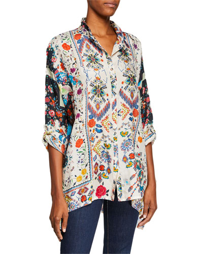 Miya Button-Front Mixed-Print Silk Georgette Blouse