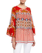 Johnny Was Fyson Scoop-Neck Flared-Sleeve Mixed-Print Blouse
