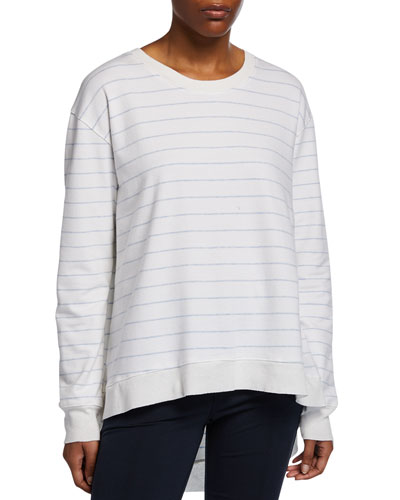Graceful Striped Long-Sleeve Lightweight Sweatshirt
