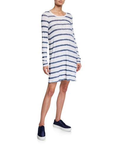Watermark Stripe Long-Sleeve Slub Jersey Dress