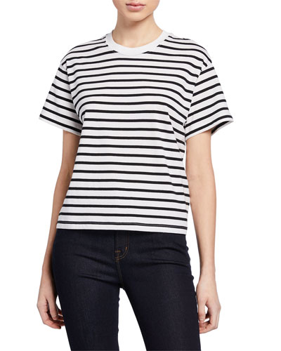 Striped Crewneck Short-Sleeve Jersey Boy Tee