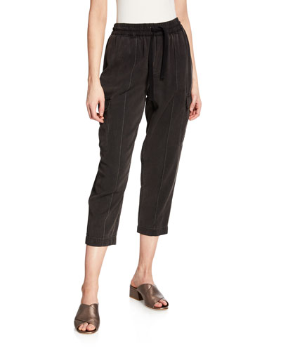Cropped Pull-On Cargo Pants