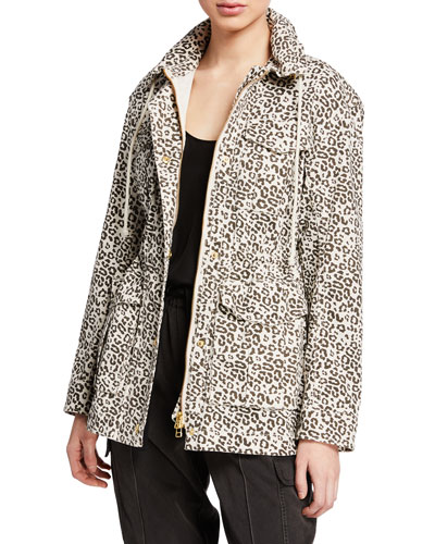 Lunar Leopard Zip-Front Field Jacket with Stowaway Hood