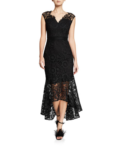 Regina Patterned Lace Cap-Sleeve High-Low Illusion Dress