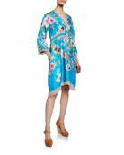Johnny Was Rayne Floral-Print V-Neck 3/4-Sleeve Heavy Silk