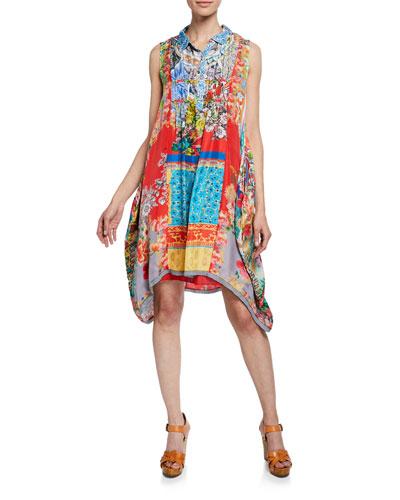 Sky Mix-Print Sleeveless A-Line Silk Twill Dress