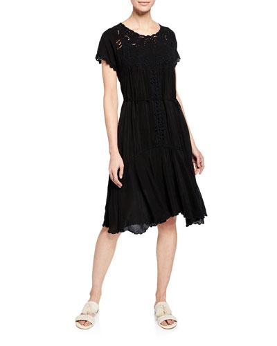 Maya Scoop-Neck Short-Sleeve Drop-Waist Eyelet Dress
