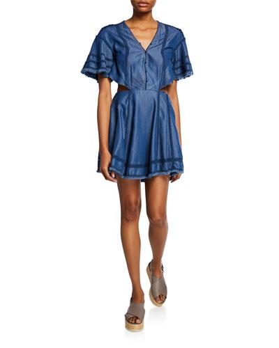 Washed Denim Cutout Flare Dress