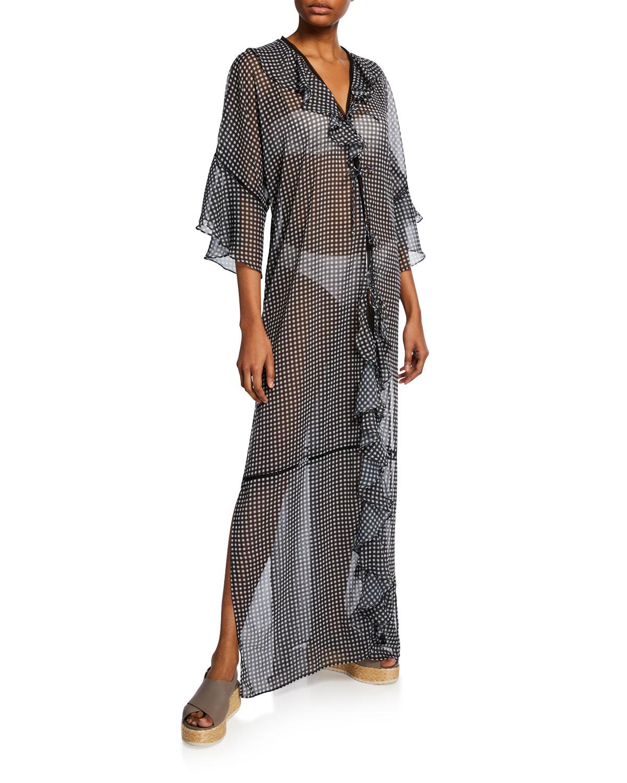 Jonathan Simkhai Tops Gingham Ruffle Long Coverup Robe