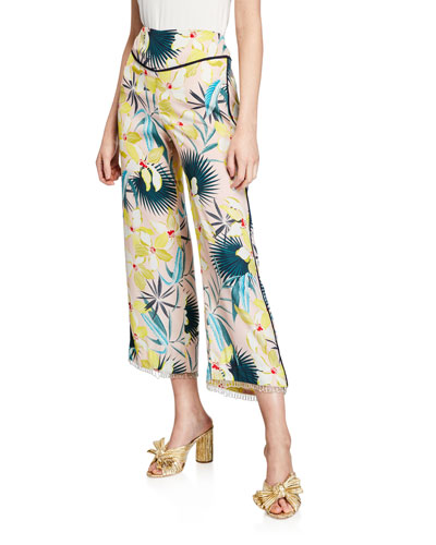 Destination Unknown Floral Wide-Leg Cropped Pants