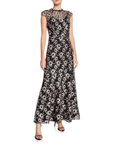 Raven Floral-Lace Overlay Cap-Sleeve Illusion Dress