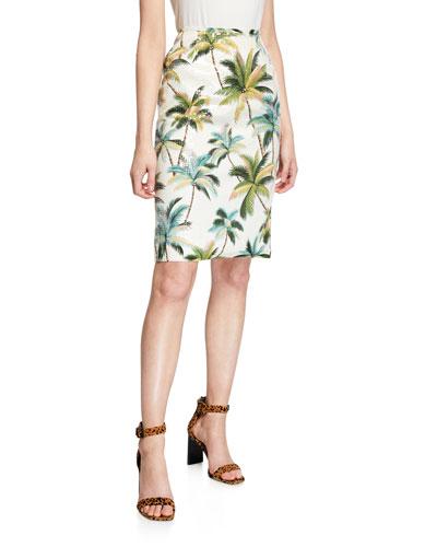 Hawaiian Shine Sequin Palm-Tree Pencil Skirt