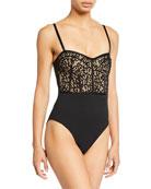 Jonathan Simkhai Lace Combo Bustier One-Piece Swimsuit