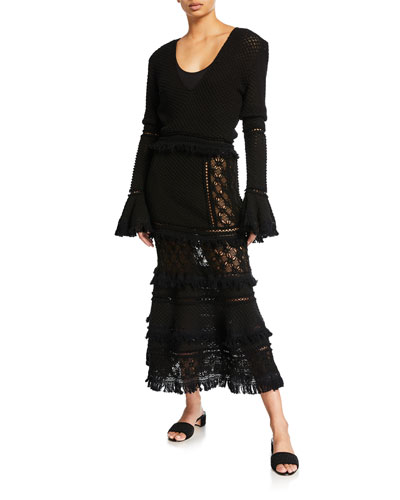 Lace Combo Long-Sleeve Maxi Dress