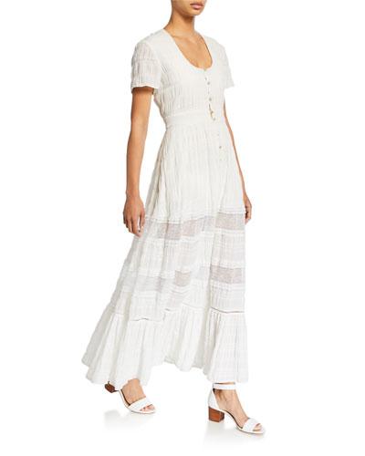 Lace Combo Front-Slit Maxi Dress