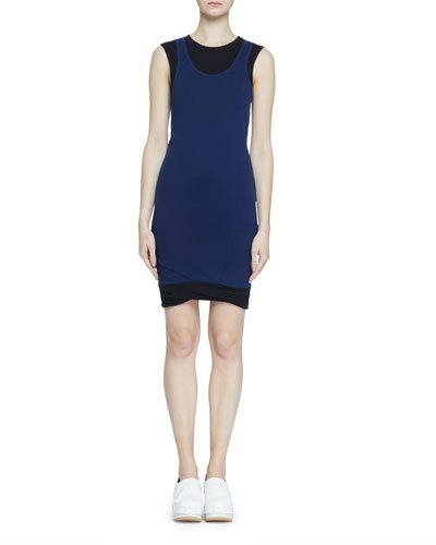 Double-Layer Fine Rib Jersey Tank Dress