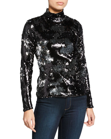 Milly Sequined Turtleneck Long-Sleeve Top