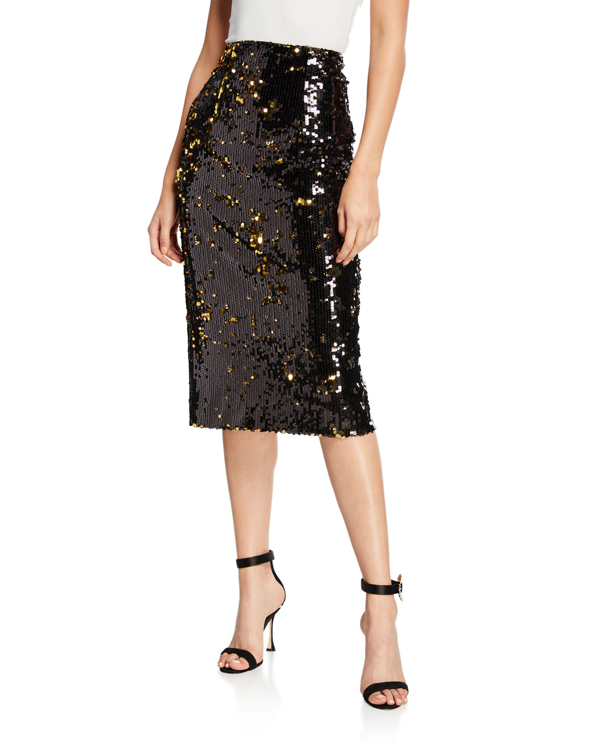 Sequined Midi Pencil Skirt in Gold
