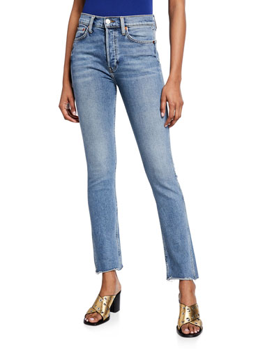 Double Needle Long Straight Jeans with Raw Hem