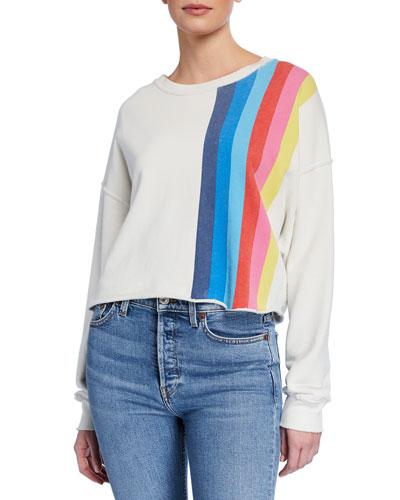 Striped Raw-Edge Crewneck Sweatshirt