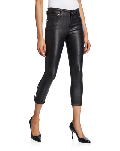 Smith Cropped Leather Skinny Pants