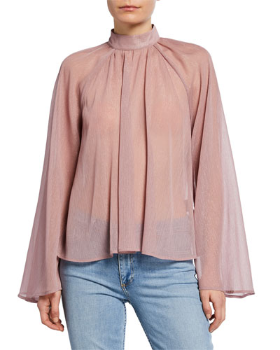 Tennessee Metallic High-Neck Blouse